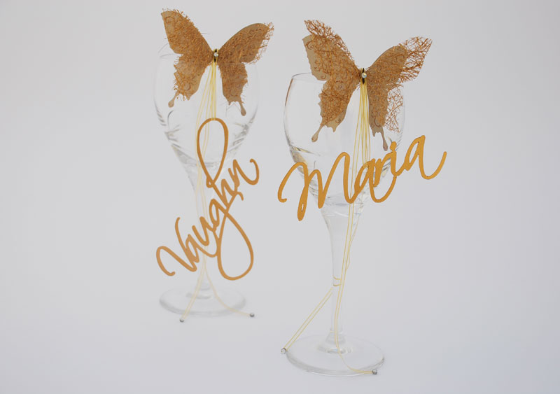50th Wedding Anniversary butterfly name tags