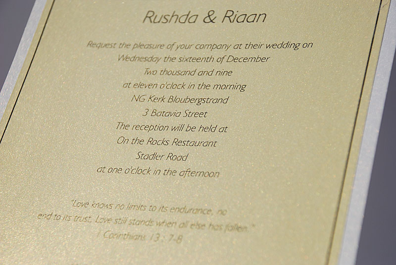 Wedding invitaion close-up